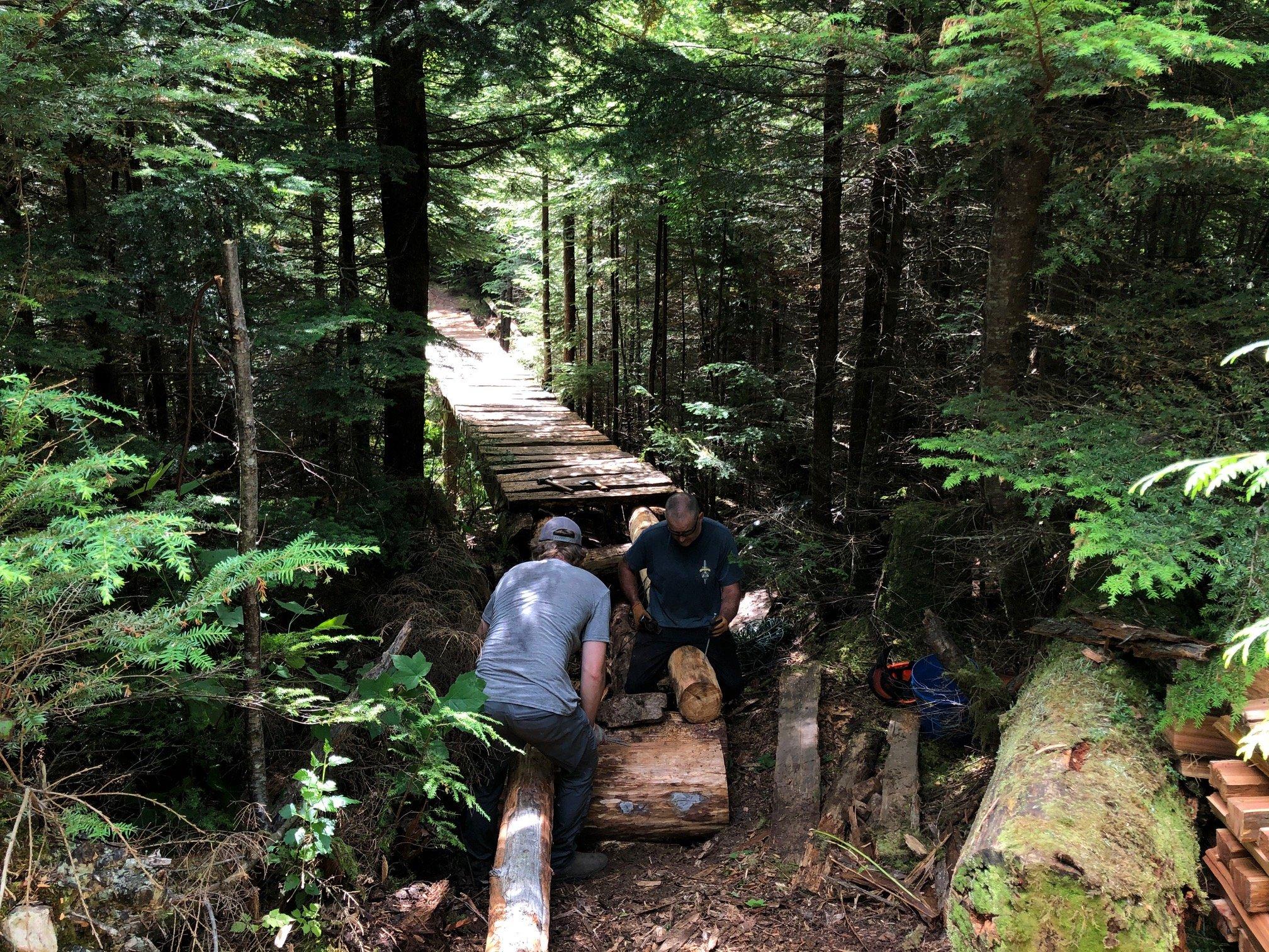 Two trail workers repairing a wood bridge